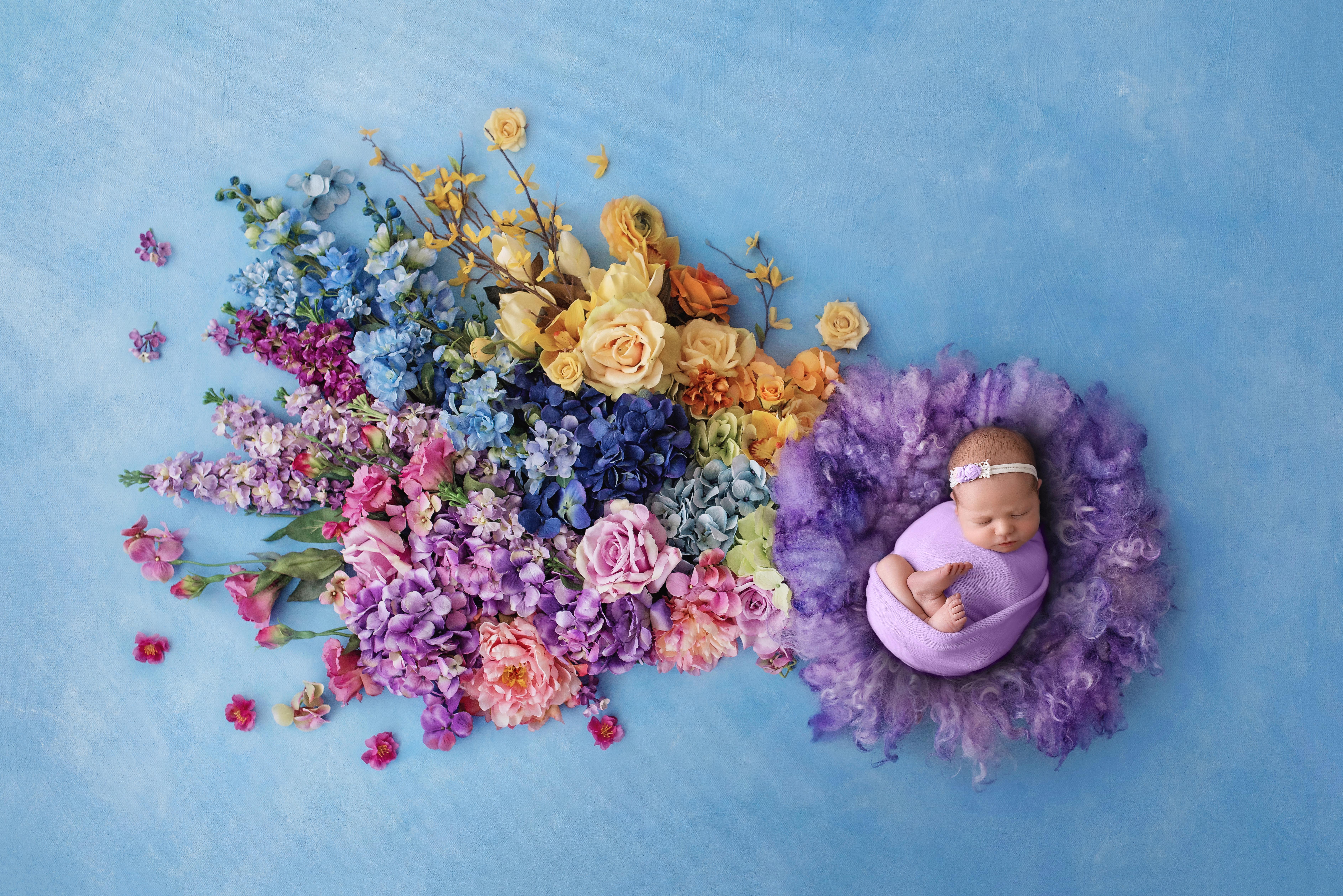 colorado, newborn, photographer, rainbow, baby, flowers