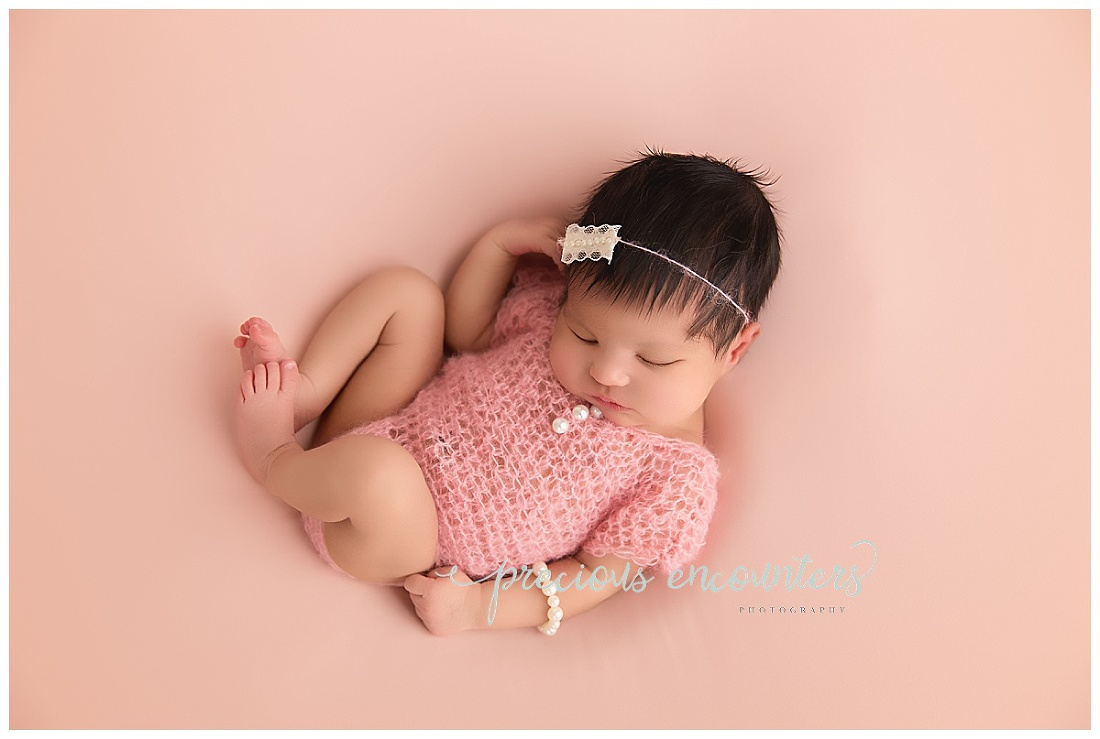 newborn, girl, pink, romper, mohair, newborn
