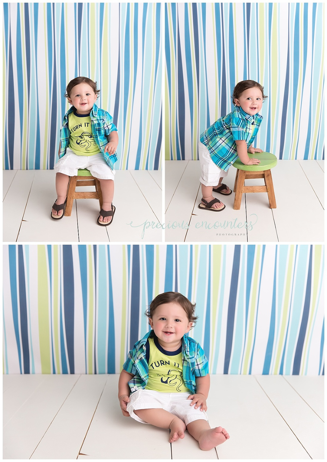 green, blue, yellow, boy, stripped, backdrop
