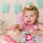coral, teal, pink, flowers, cake smash, photographer, colorado