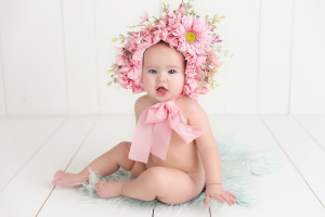 baby, bonnet, flowers, smile