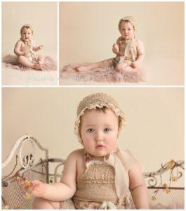 children photographer, first birthday, scroll bed, romper, neutrals