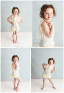 child poses, teal, romper