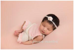 posed, girl, pink, newborn, romper