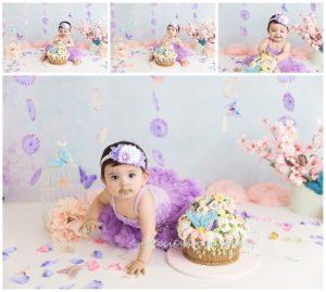 garden cake smash, purple, pink, flowers, butterflies