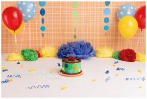 cake smash, colorful, red, yellow, green, blue, polka dots