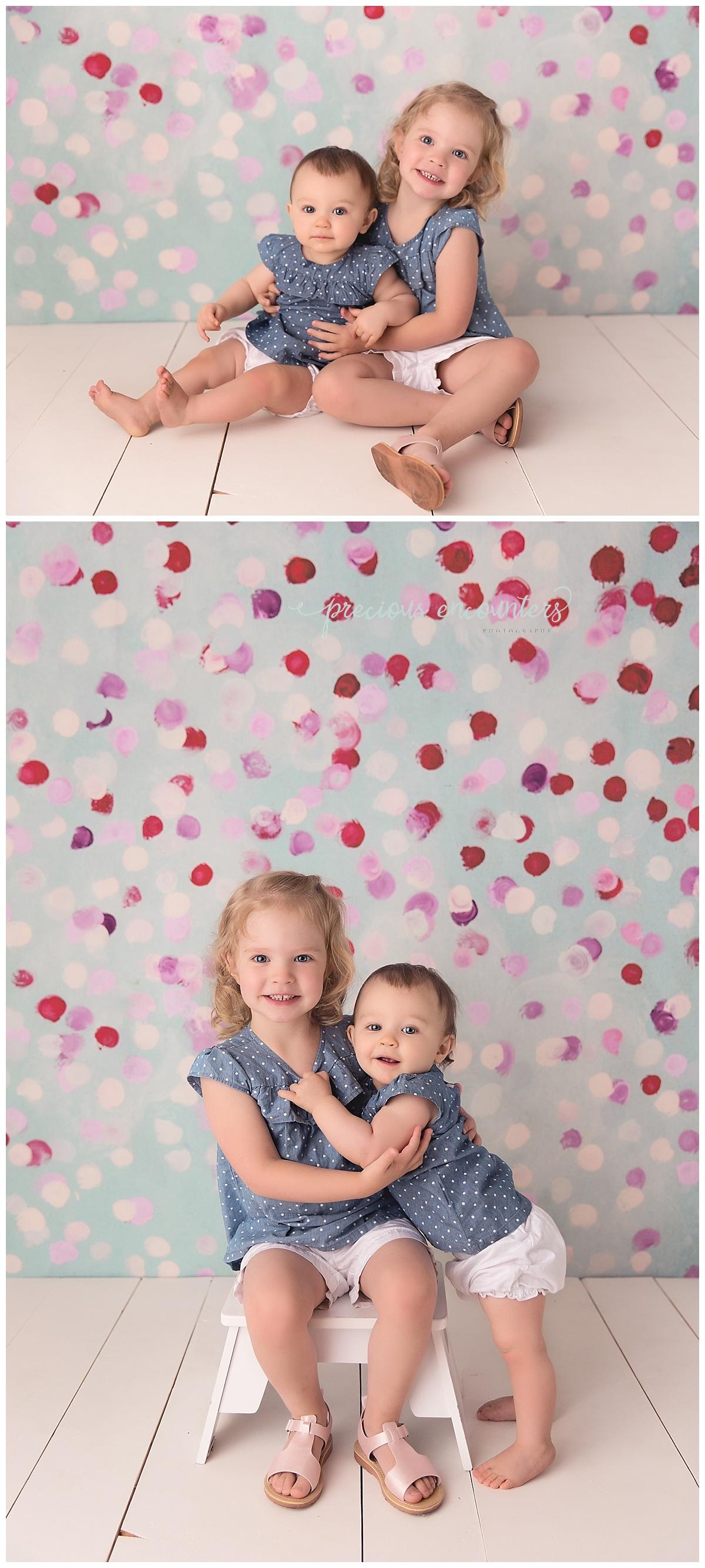 siblings, blue, white, pink, purple, portraits