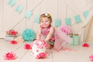 coral, teal, pink, flowers, cake smash, photographer, colorado