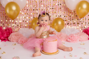 cake smash, gold, pink, glitter, girl, photography, portraits