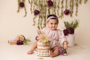 vintage, cake smash, purple, boho, flowers