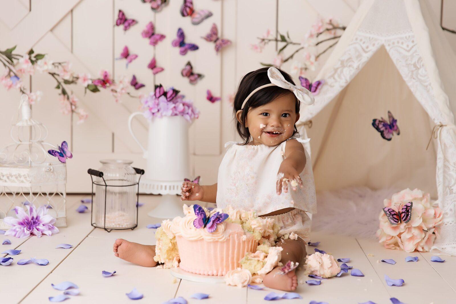 vintage, cake smash, barn doors, butterflies, cupcake, coral, purple, flowers, colorado springs, denver