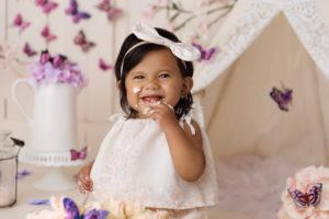 vintage, cake smash, barn doors, butterflies, cupcake, coral, purple, flowers