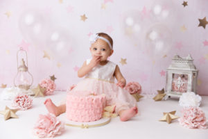 girl, cake smash, stars, pink, gold, Colorado Springs