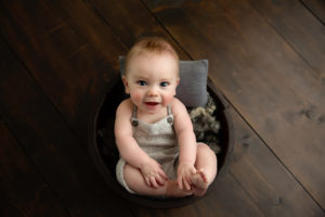baby, child session, bucket, brown, green