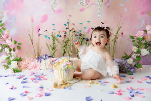girl, cake smash, floral, flowers, girl, spring, cake smash, Colorado
