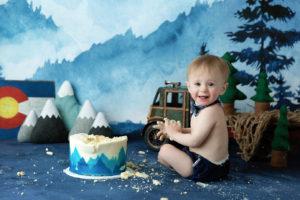 cake smash, Colorado, vintage, skiing, native, boy, blue, mountains, Rocky Mountains